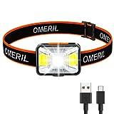 OMERIL Stirnlampe LED Wiederaufladbar USB Kopflampe Stirnlampe...