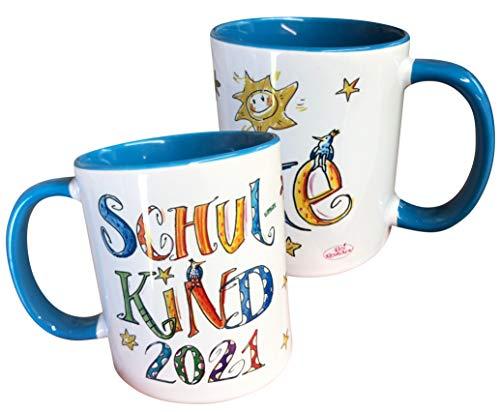 Tasse Schulkind 2021 mit Namen, personalisierte Kindertasse,...