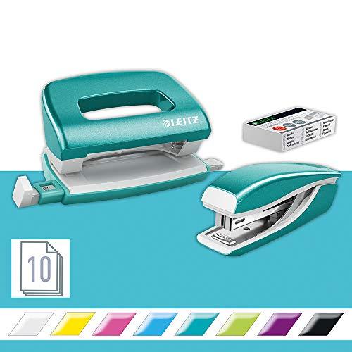 Leitz 55996051 Mini-Heftgerät-und Locher-Set (für bis zu 10...