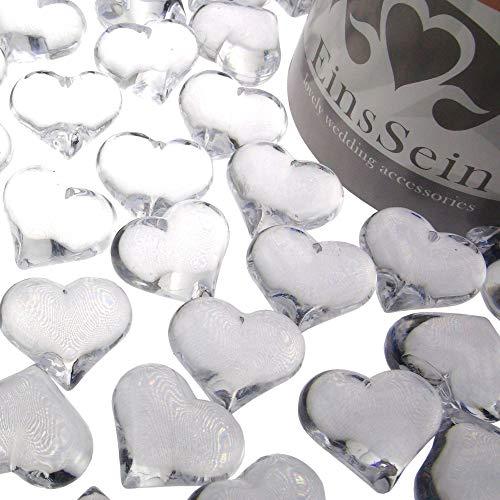EinsSein 30x Dekosteine Funkelnde Herzen 22mm klar Dekoration...