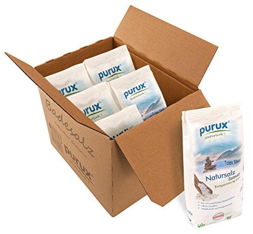 purux Totes Meer Salz Badesalz 6kg Naturweiß (6x1kg Beutel)...