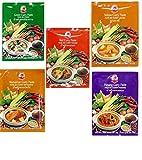 Cock Brand - 5 verschiedene Curry Pasten je 50g (Rote, Gelbe,...