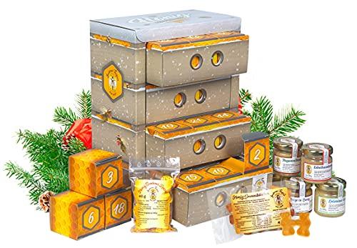 Honig-Adventskalender mit 21 Sorten Honig, Honigbonbons und Bienenwachskerze
