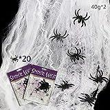 MAXEE Spinnennetz 2 Pcs(80G Weiß Baumwolle 20 Spinnen) Halloween...