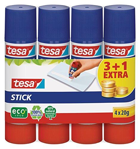 Tesa Stick ecoLogo runder Klebestift, 4x 20 g