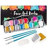 Kinderschminke Set, Coquimbo 16 Schminkfarben Face Paint, 2...