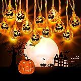 Zenoplige Halloween Kürbis Deko Licht, 3M 20 LED Horror Pumpkin...