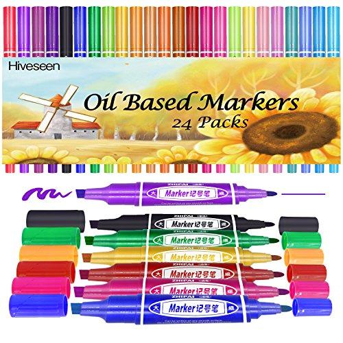 Hiveseen 24 Stück Ölbasis Permanent Marker Kreidestift,...