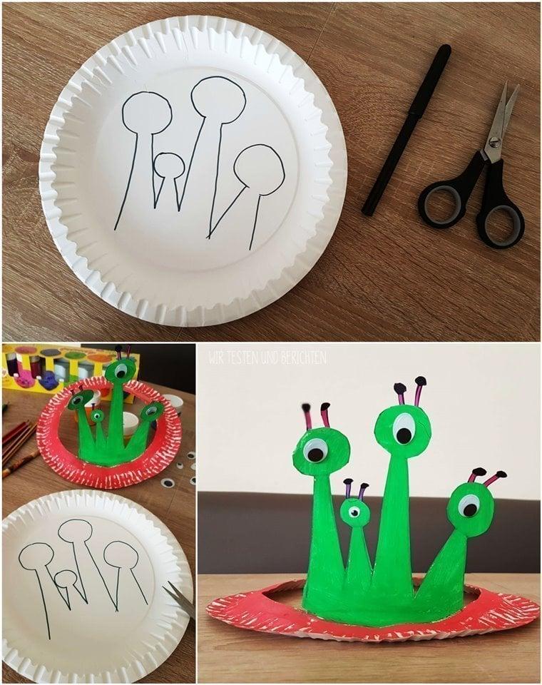 Pappteller Krone Hut basteln mit Kleinkindern