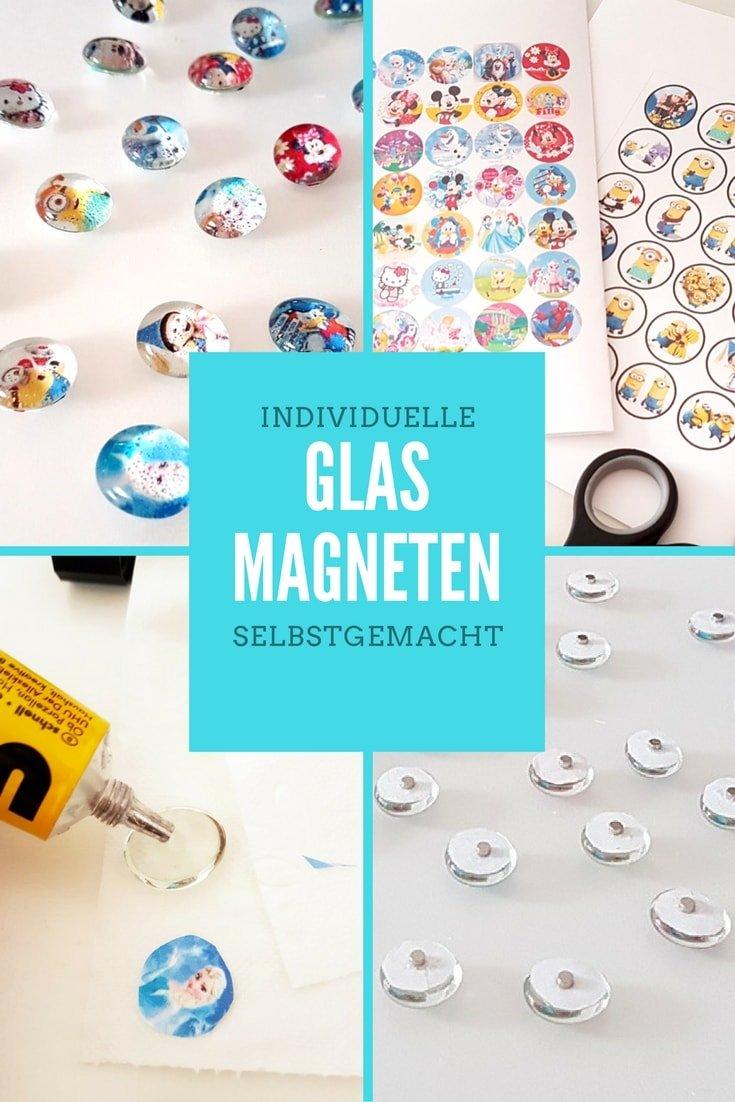Glasmagnete basteln mit Kindern! Einfache DIY Anleitung für selbstgemachte Magneten aus Glasnuggets.