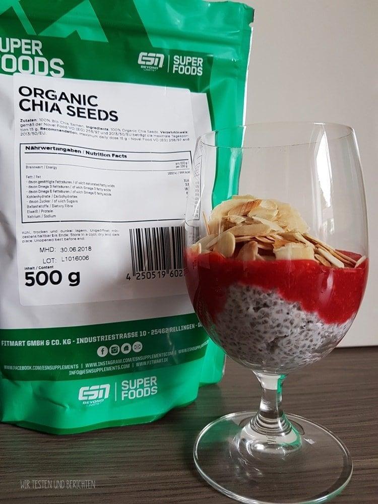 Rezept Chia Pudding mit Himbeeren - Fitmart Superfoods im Test 1