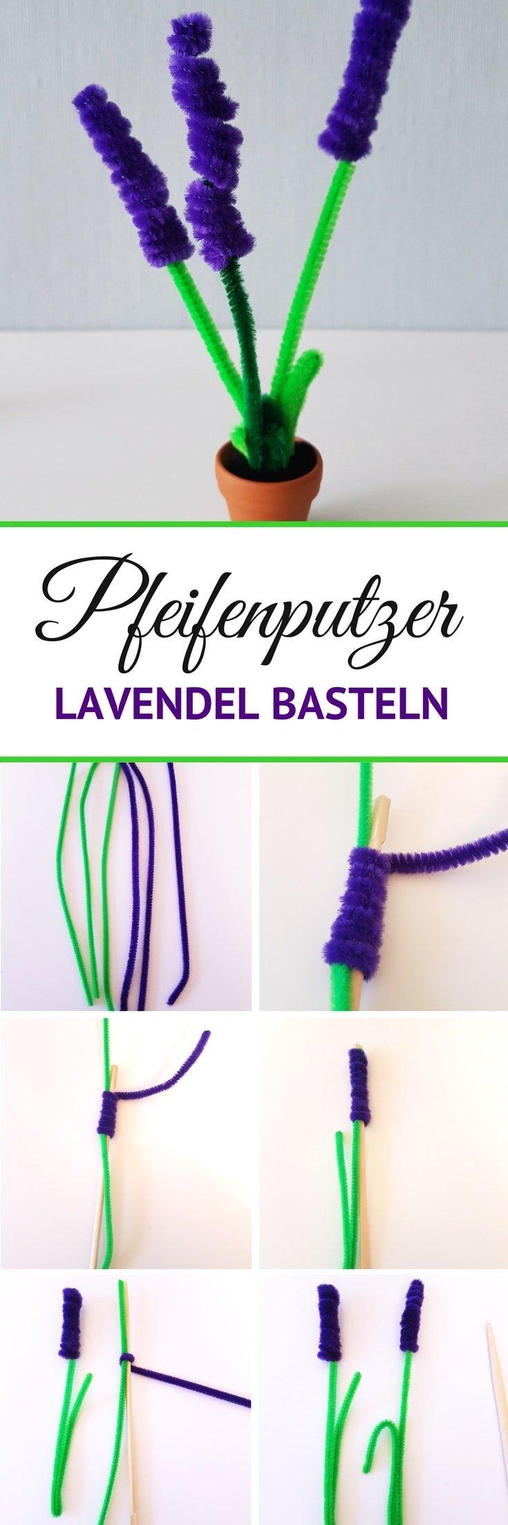 DIY Anleitung Pfeifenputzer Lavendel Blumen basteln