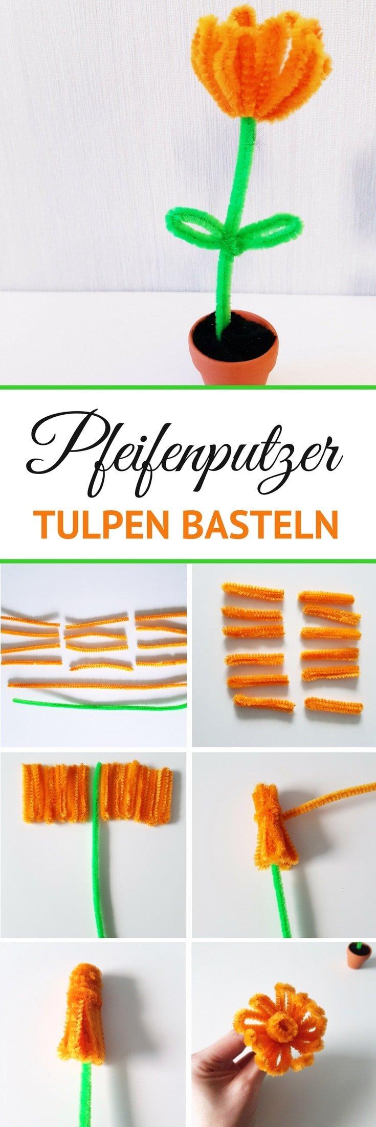 DIY Anleitung Pfeifenputzer Tulpen Blumen basteln