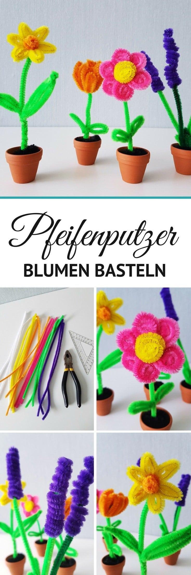Basteln mit Pfeifenreiniger: Frühling Blumen basteln Anleitung