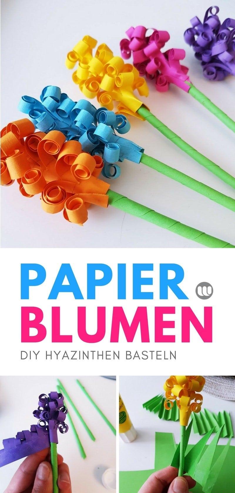 Papierblumen basteln - Hyazinthen Blumen aus Papier basteln: DIY Papierblumen für den Frühling selber machen