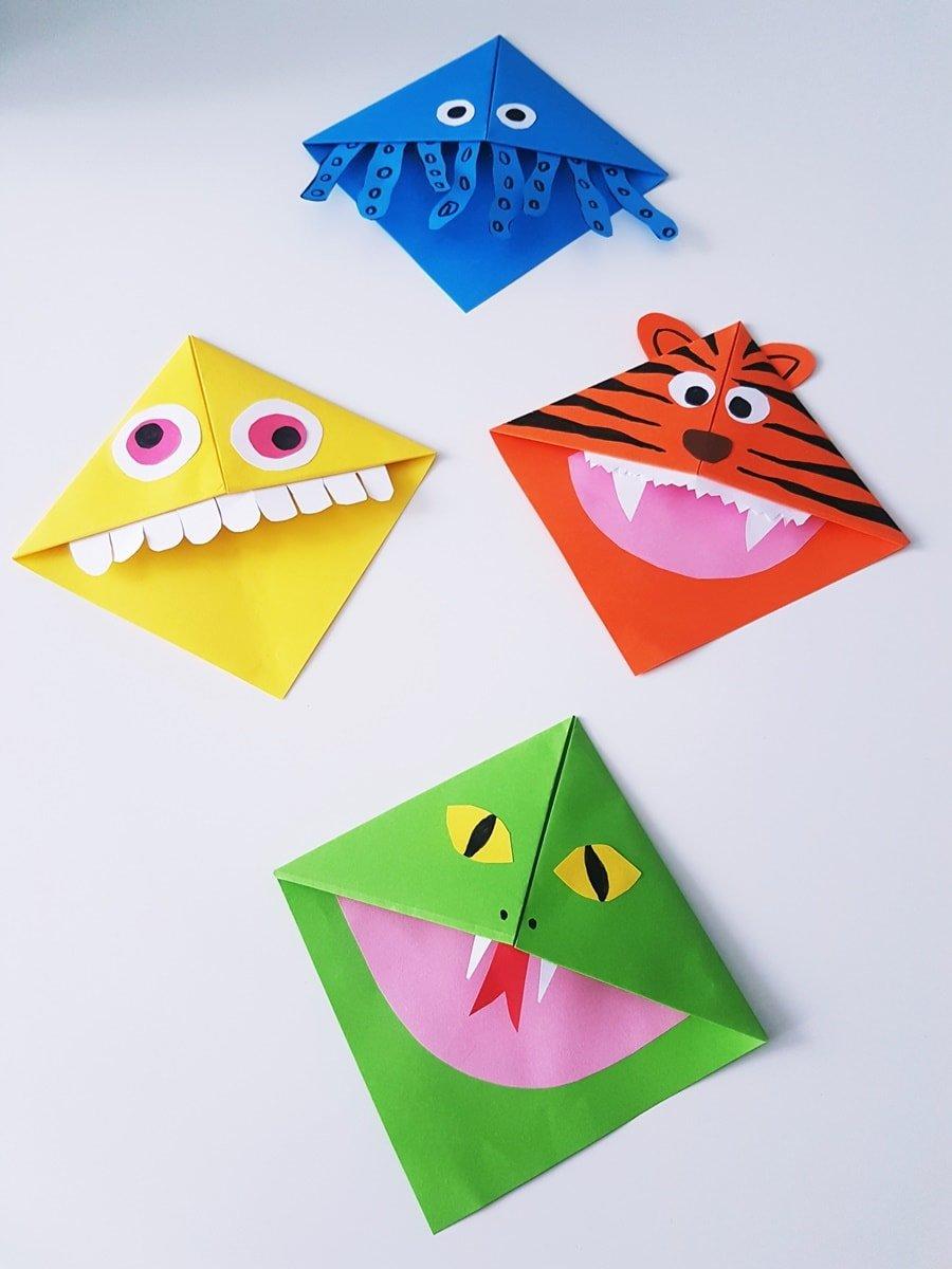 DIY] Lesezeichen Monster, Tiere & Herz Eck-Lesezeichen falten