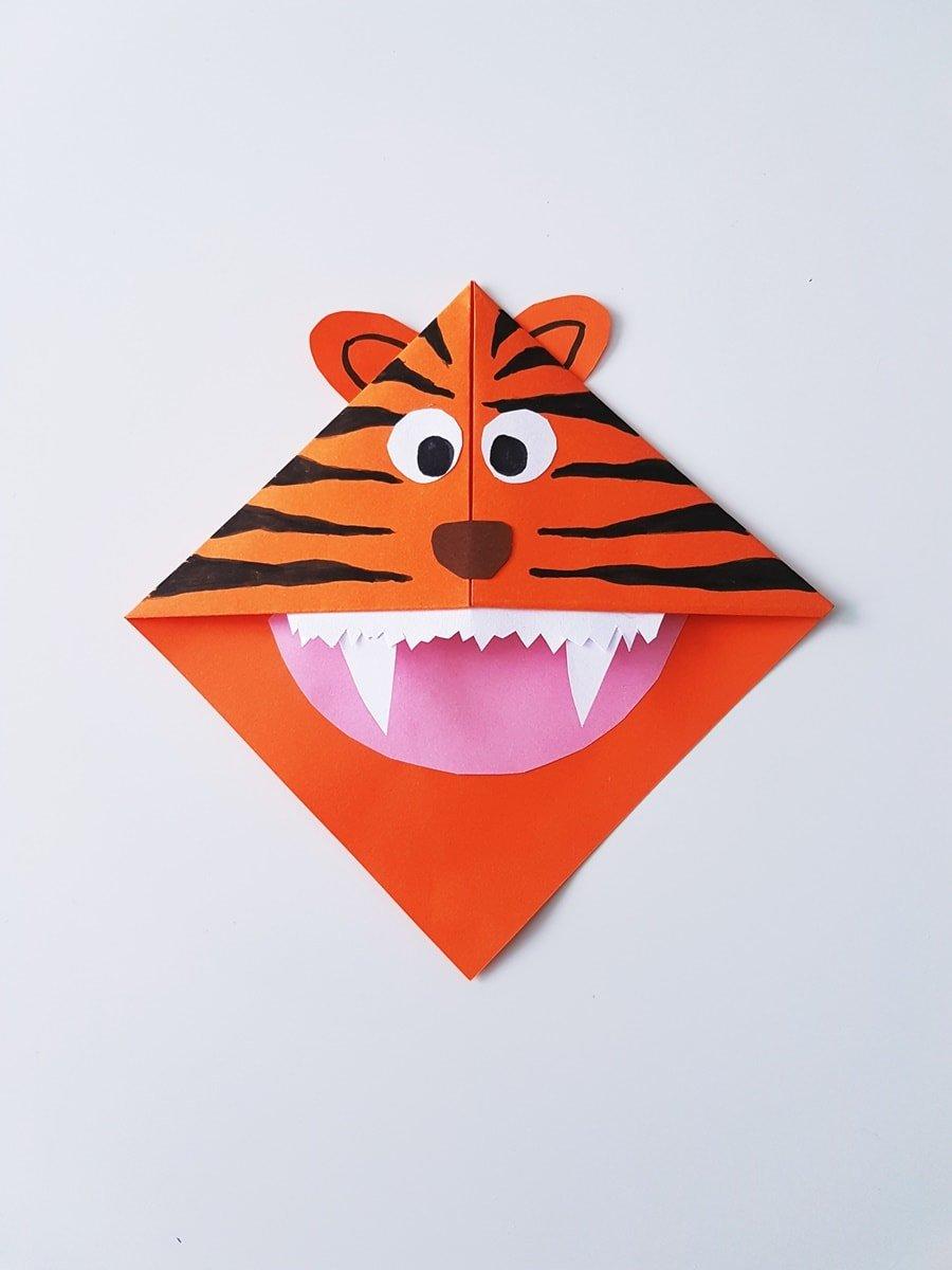 Anleitung: Lesezeichen Tiger selber basteln