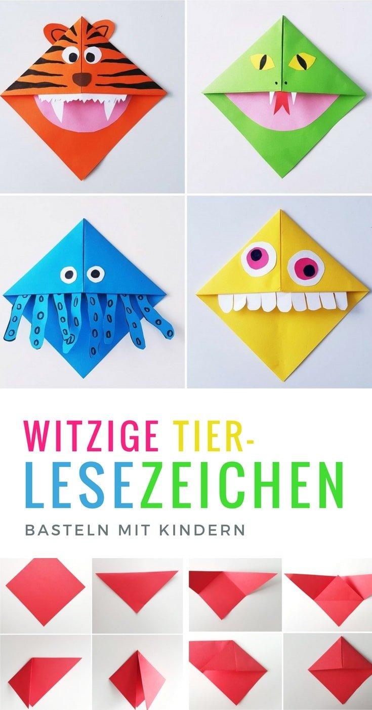 Lesezeichen Basteln Monster Und Tier Lesezeichen Falten Mit