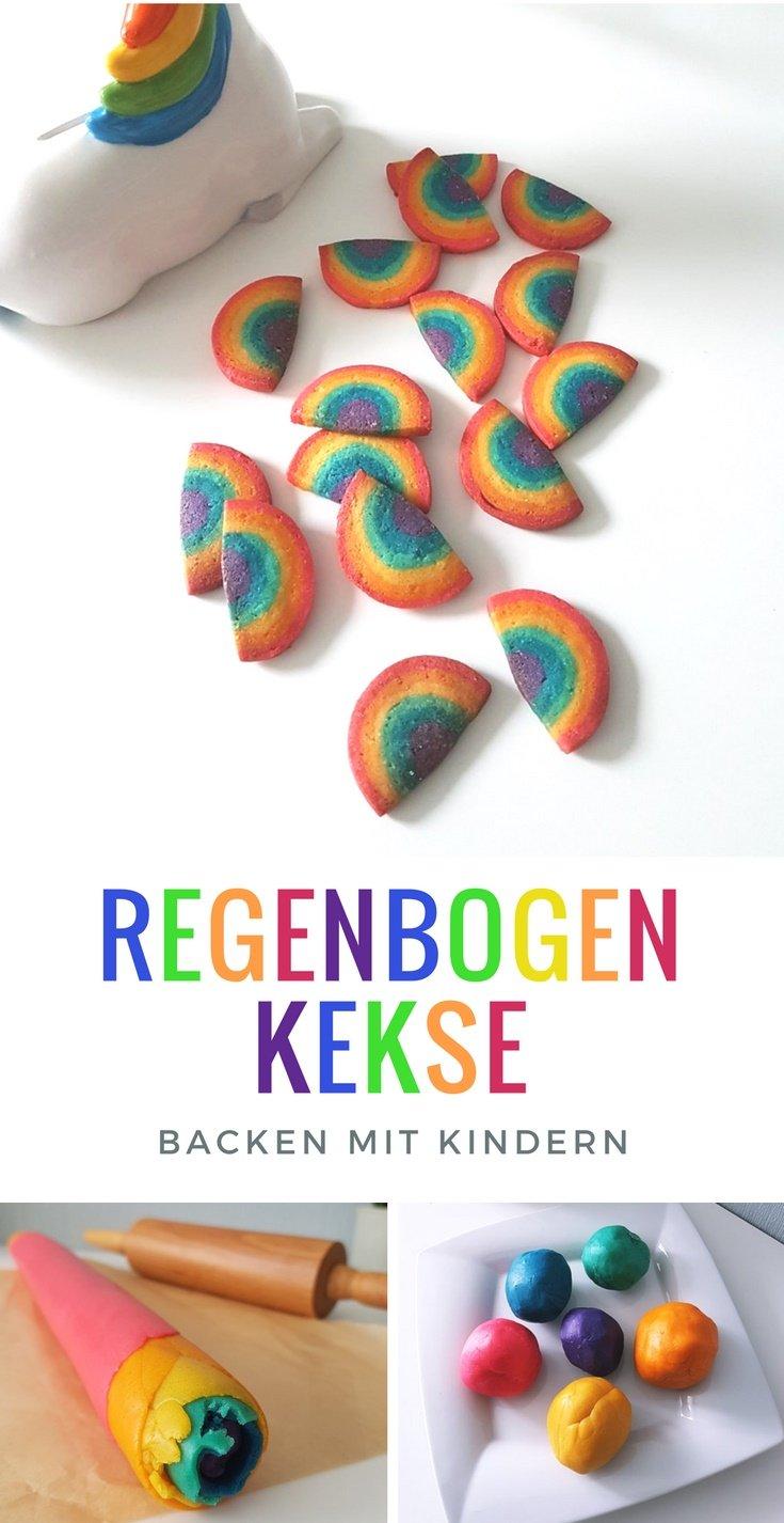 Rezept für Regenbogen-Kekse: Anleitung für köstliche bunte Kekse im Regenbogen Look #Regenbogen #Rainbow