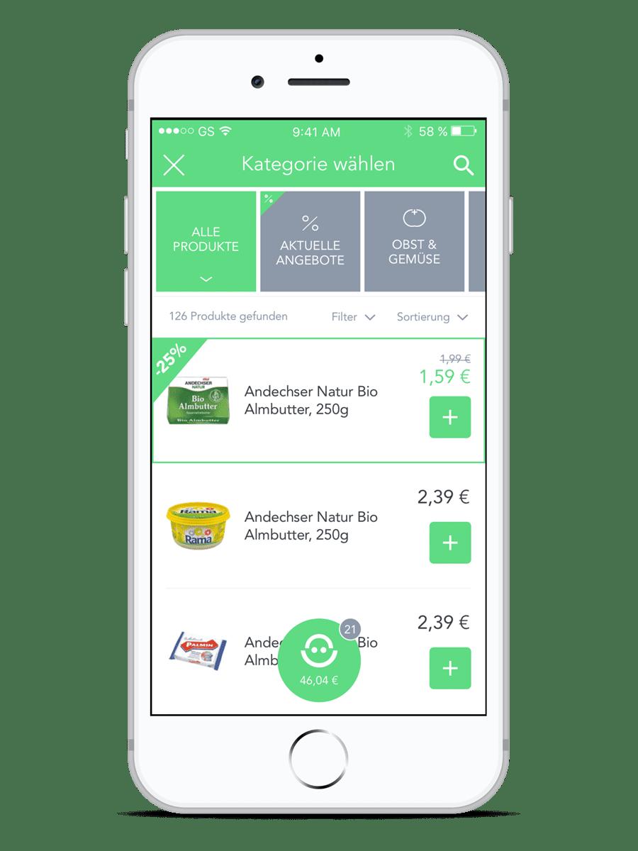 Produktkategorien - Einkaufen mit der SUPERKORB App