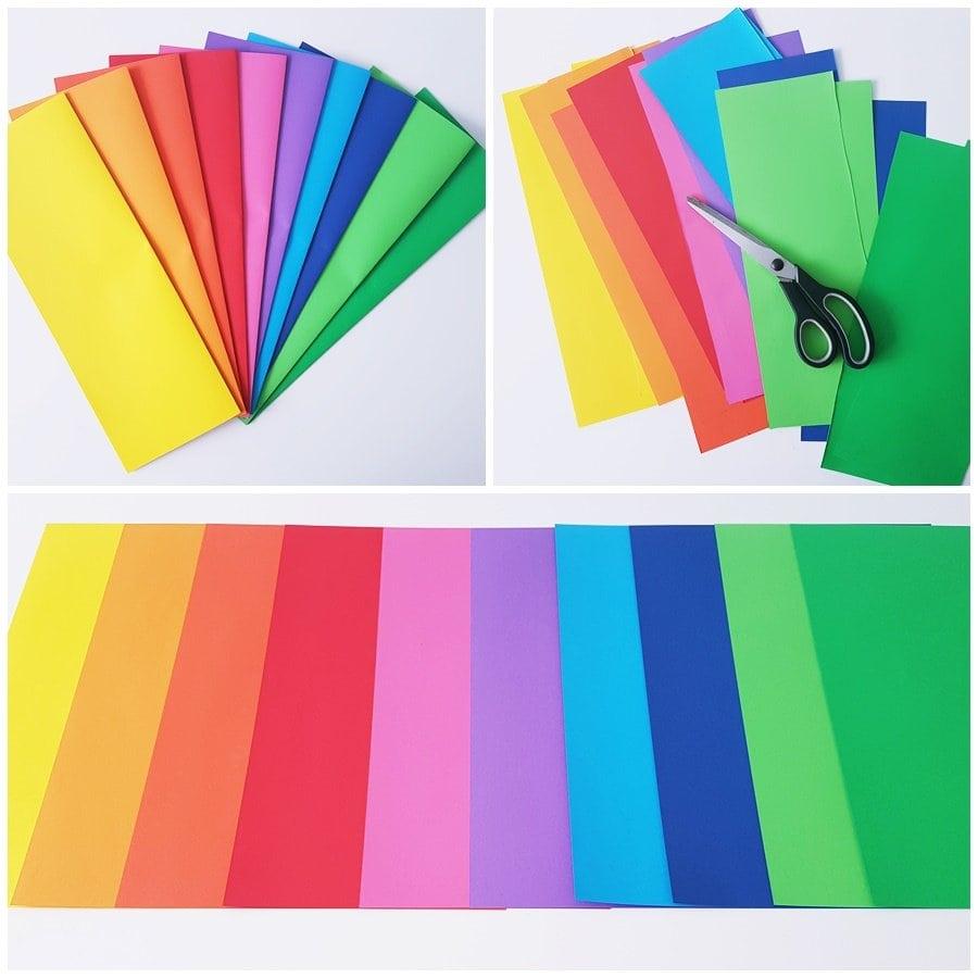 Papier in Regenbogenfarben