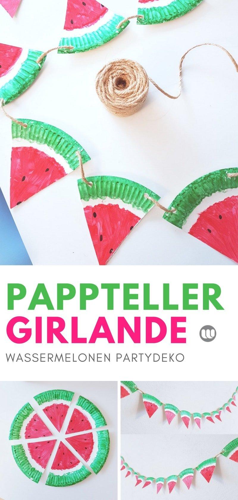 Sommer Do it yourself: Wassermelonen Girlande. Die tropische Wassermelonen Girlande aus Papptellern eignet sich ideal für eine Gartenparty.