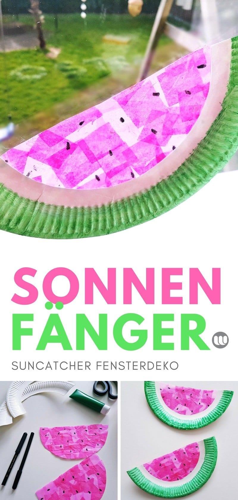 Fensterbild Wassermelone Sommer basteln mit Kindern, Kleinkinder, Kindergarten