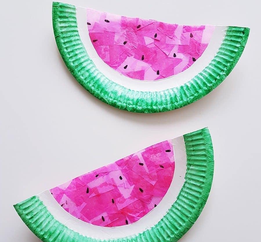 DIY Bastelanleitung für Kinder: Sommerliche Wassermelonen Fensterbilder