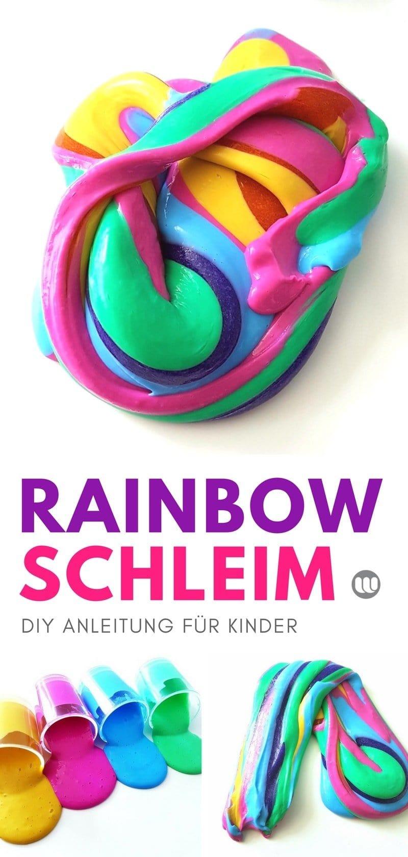 Slime selber machen: Rezept und Anleitung für Regenbogen- Slime für Kinder, Kleinkinder