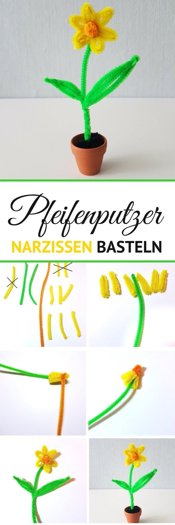 DIY Anleitung Pfeifenputzer Osterglocken basteln