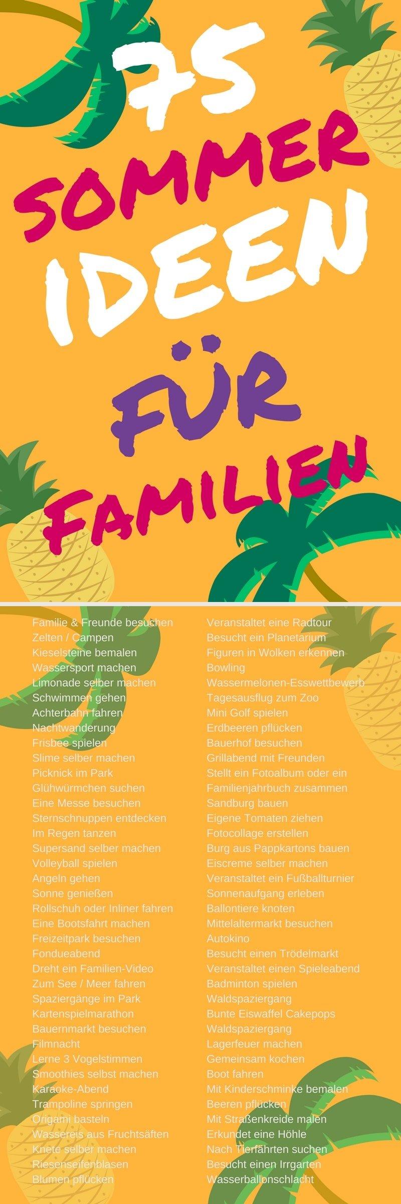 Familie Kinder Ideen Sommer Spiele Aktivitäten Beschäftigung