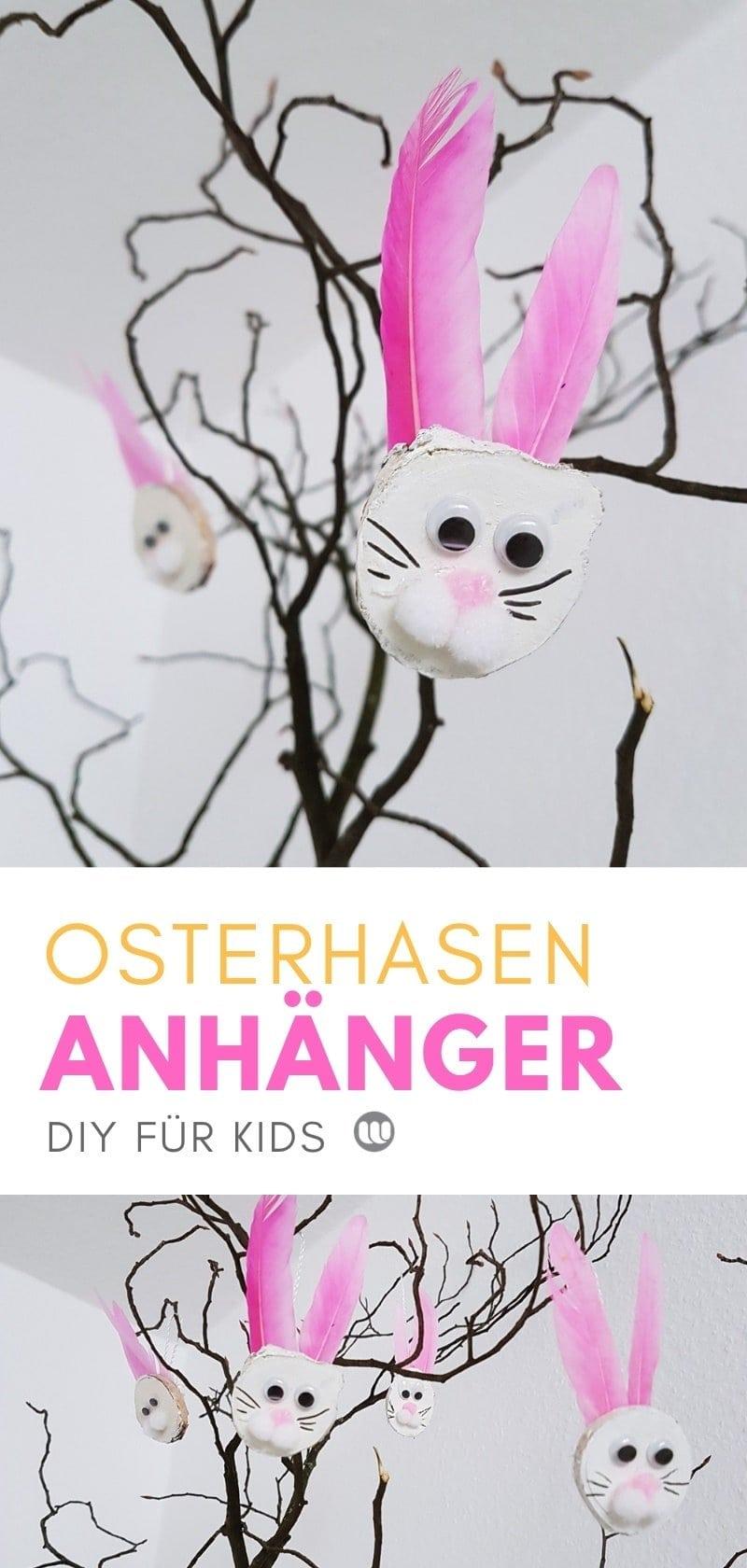 Basteln mit Kindern: Hase Anhänger Ostern aus Holz Astscheiben