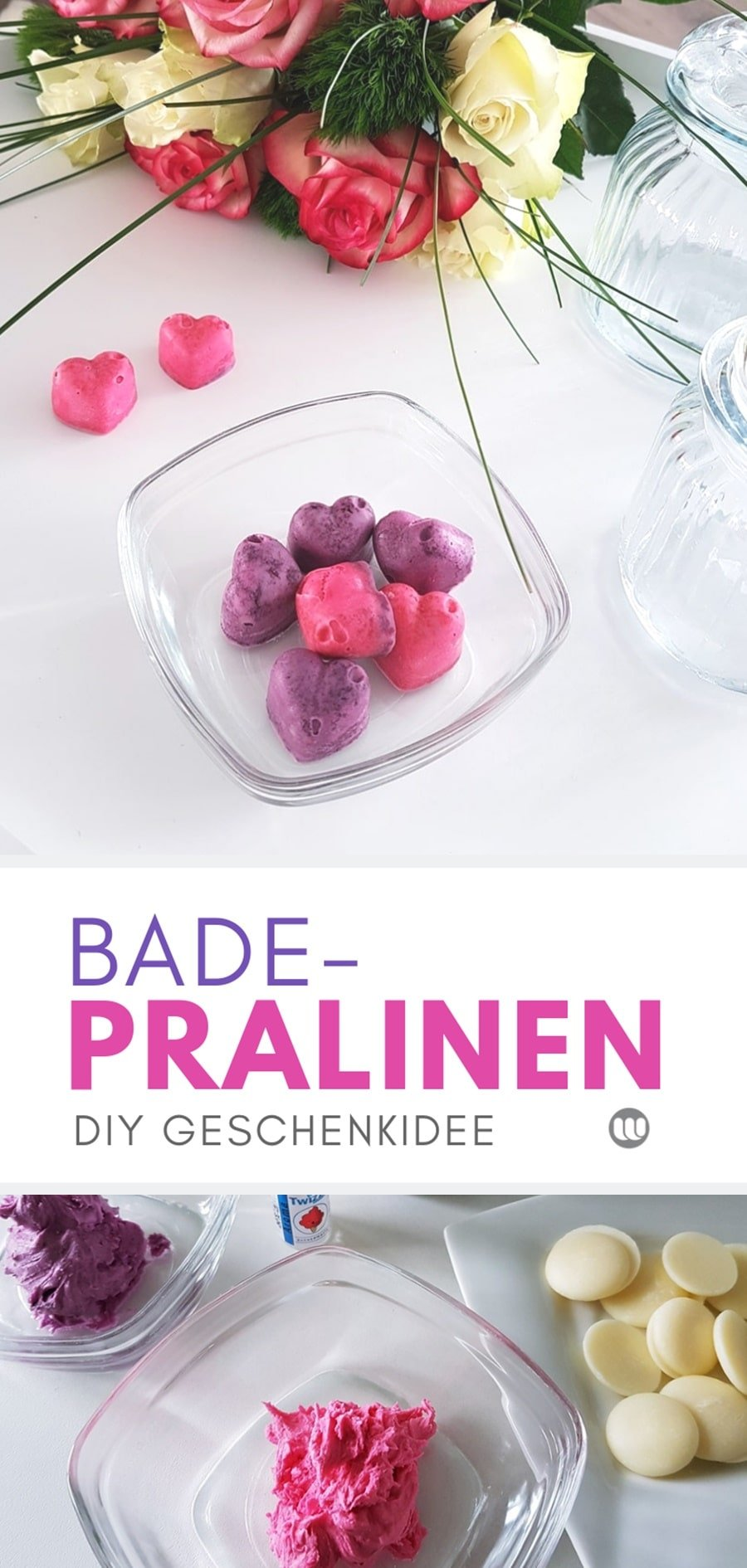 Badepralinen Rezept zum selber machen #DIY #Geschenkidee #Muttertag #Valentinstag #Kosmetik #Anleitung #selbermachen #selbstgemacht