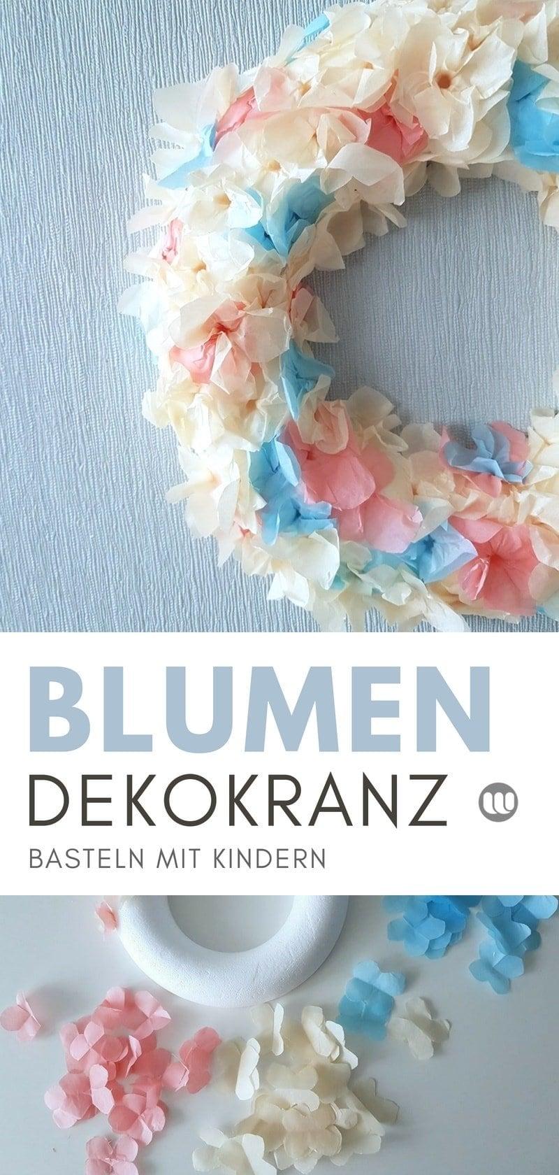 Frühlings Türkranz basteln mit Blumen aus Seidenpapier