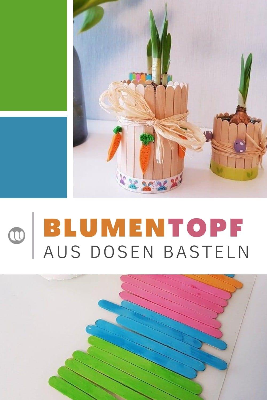 Upcycling-Tipp: Blumentopf Tischdeko aus Dosen und Eisstielen