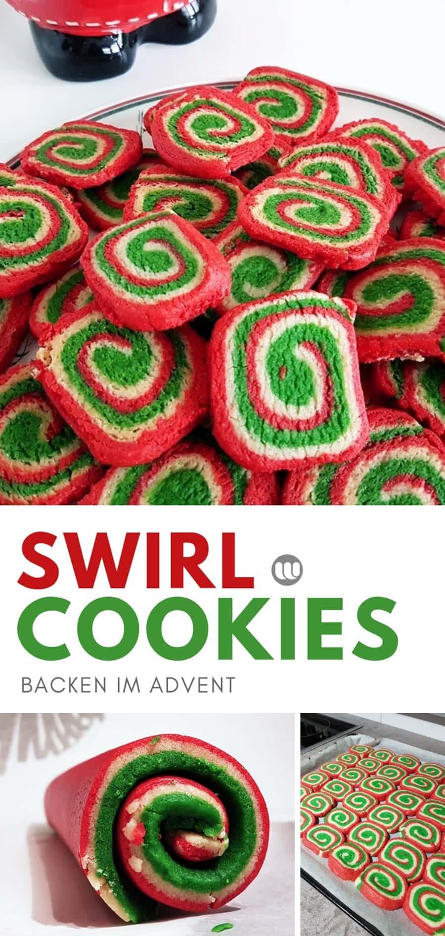 Swirl Kekse selber backen: Bunte Swirl-Cookie Rezept zu Weihnachten #Swirl_Cookies #Rezept #Weihnachten #Spiralkekse #backen