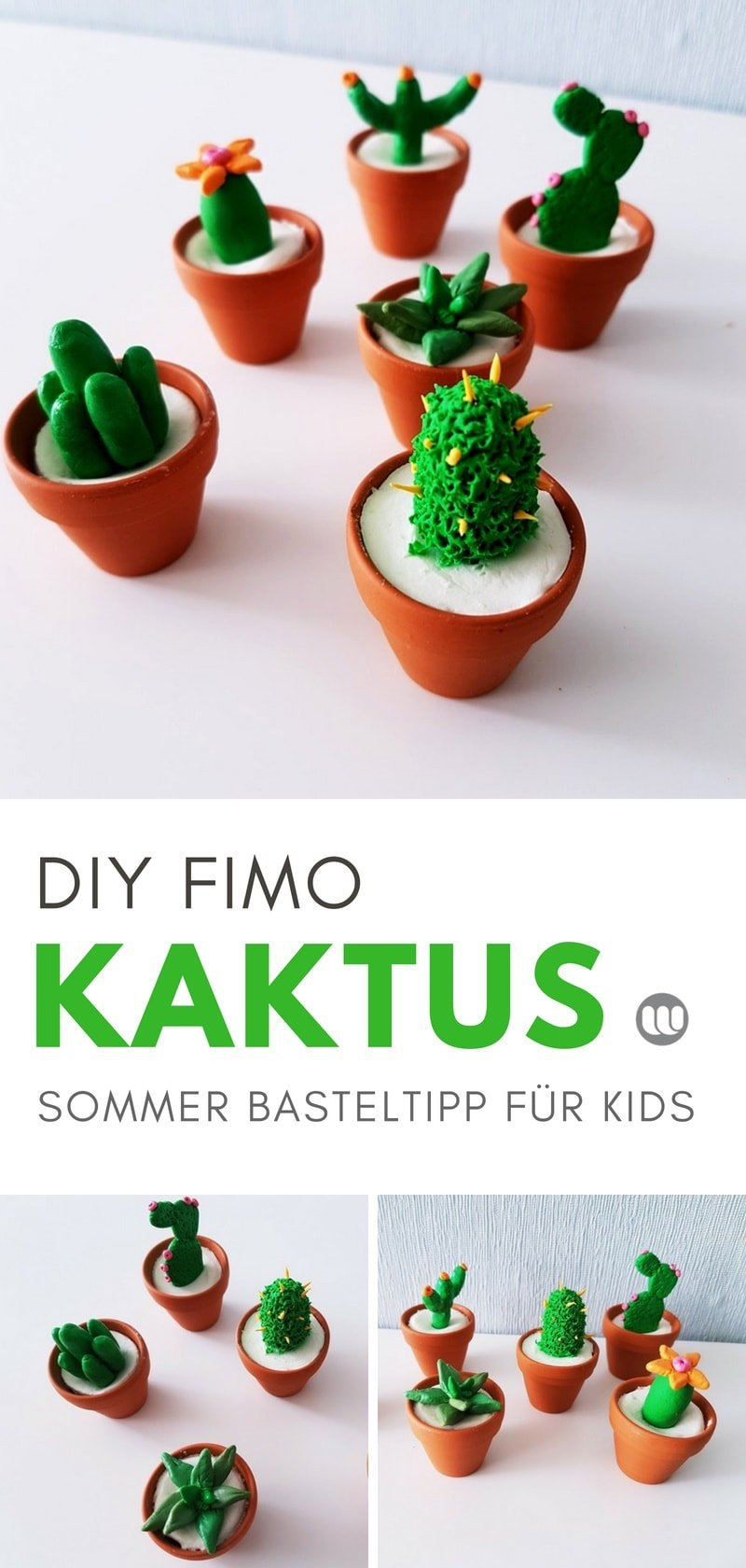 sommer basteltipp diy mini kaktus deko aus modelliermasse. Black Bedroom Furniture Sets. Home Design Ideas