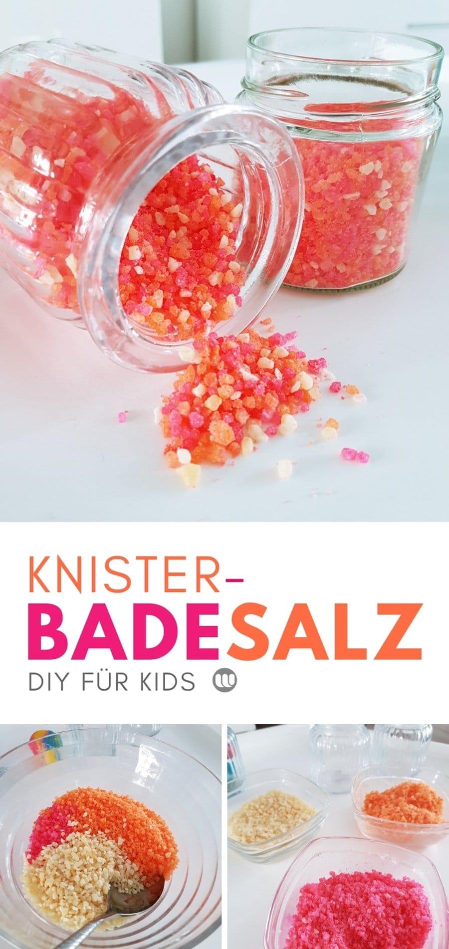 DIY Kinder Badesalz Rezept: So einfach machst du spannendes knisterndes Badesalz für Kinder