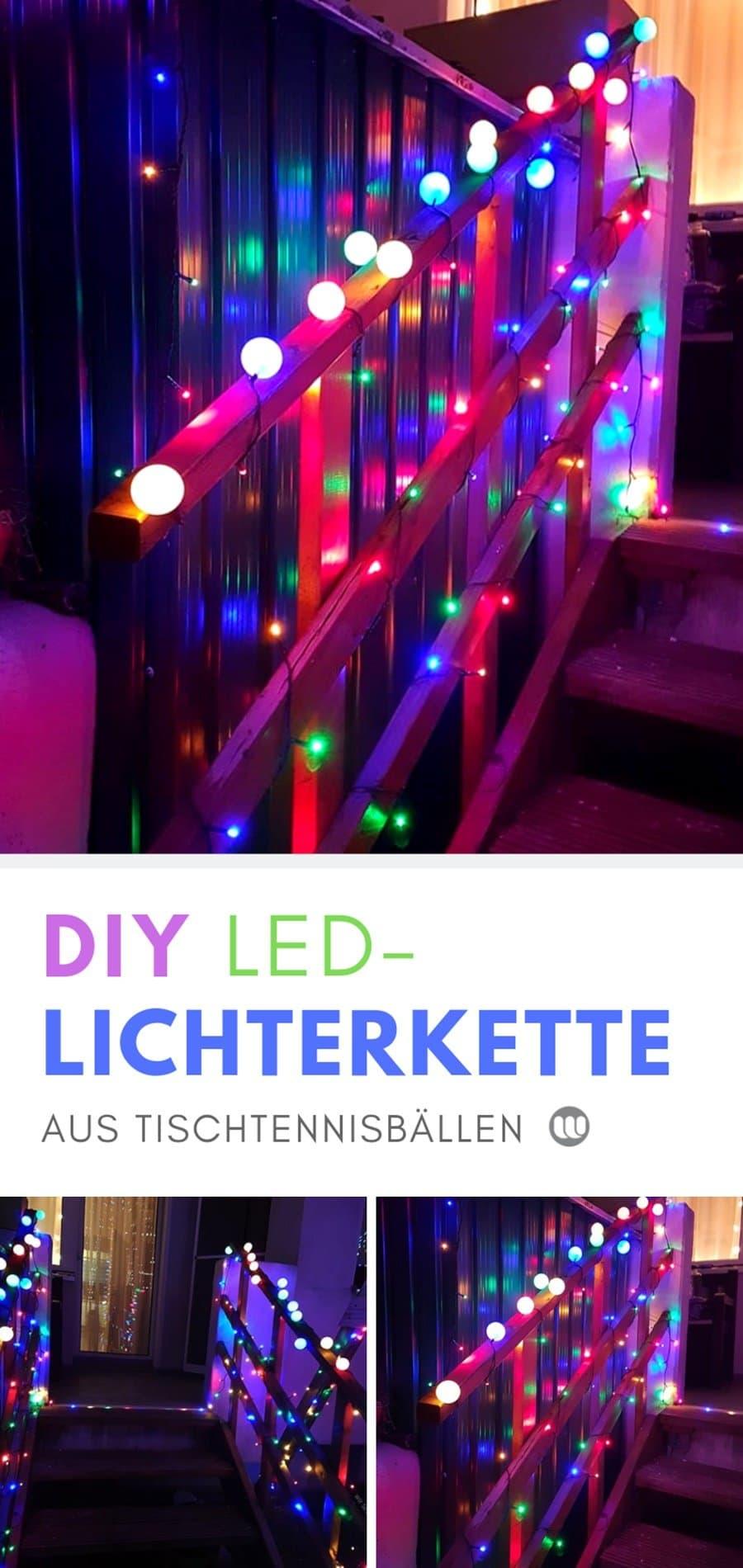 DIY Deko Lichterkette basteln: Anleitung für eine selbstgemachte LED Lichterkette aus Tischtennisbällen