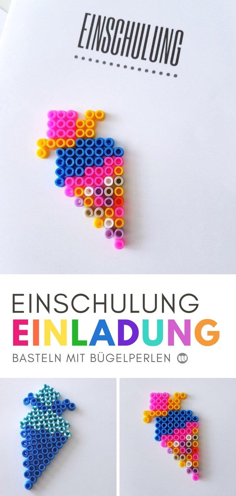 Einladung zur Einschulung: Schultüte basteln mit Bügelperlen #diy #einladung #bügelperlen #schultüte #basteln #bastelidee #selberMachen #selbstgemacht #schule