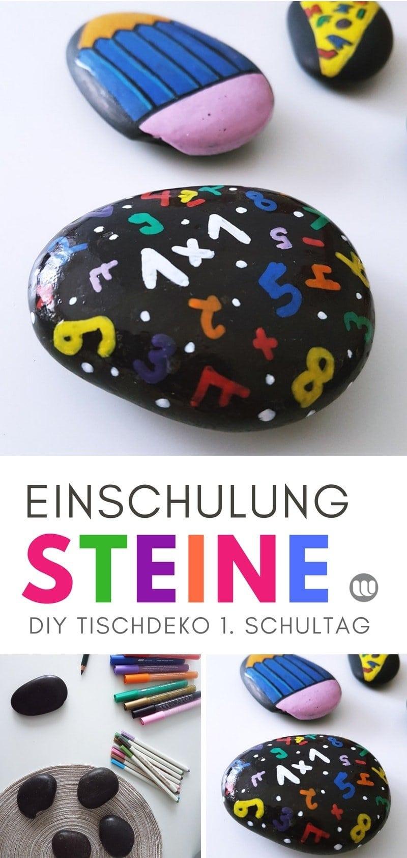 DIY Deko Idee zur Einschulung: Steine bemalen mit Schule Motiv. Schultüte, Zahlen, ABC, Stifte