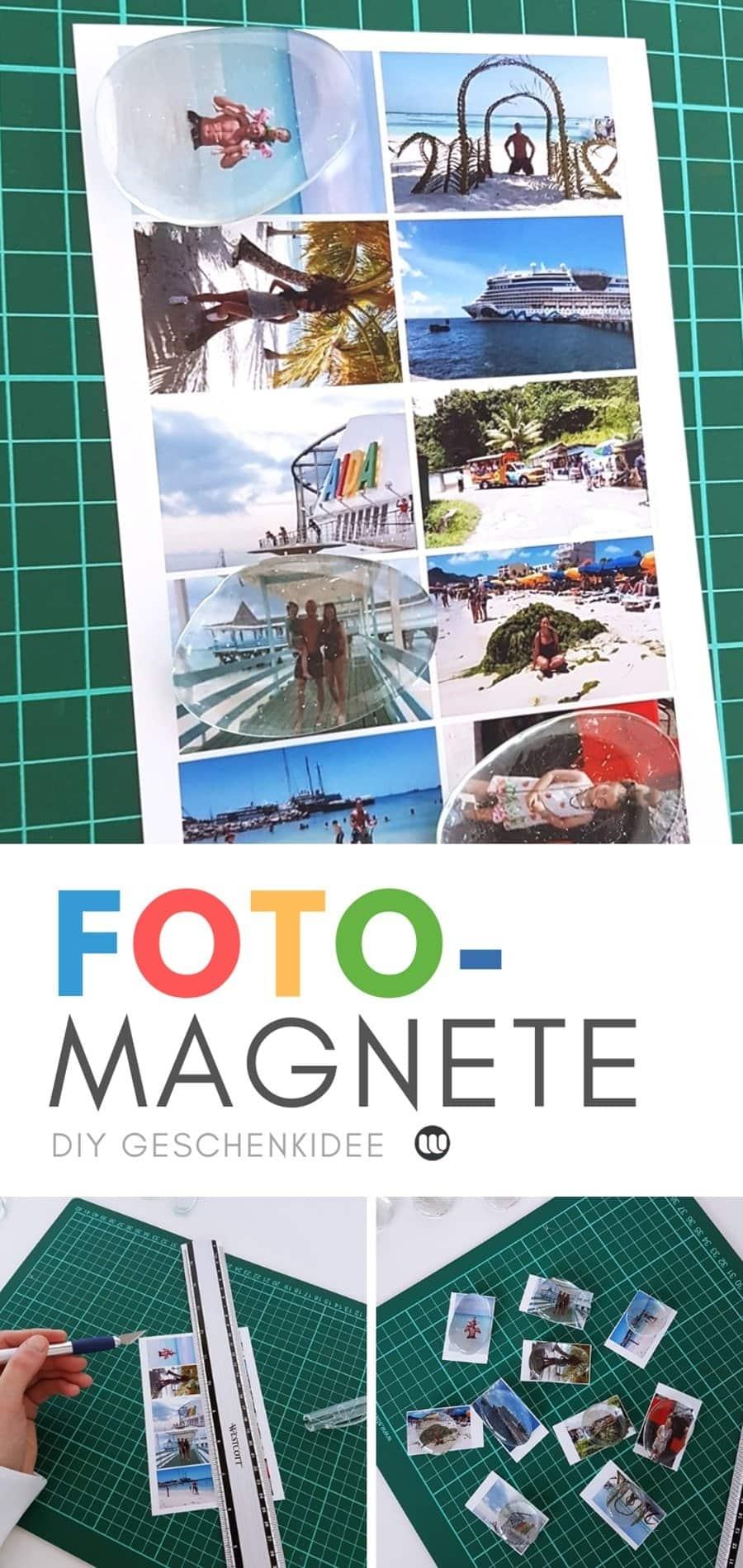 Fotomagnete selber machen und gestalten. Einfache Anleitung für ein selbstgemachtes Fotogeschenk. Schnelle DIY Bastelidee.