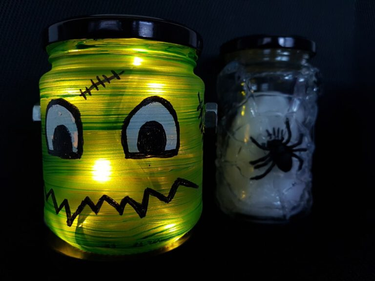 Halloween Dekolampe Frankenstein basteln