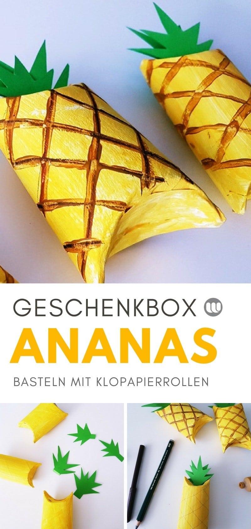 Geschenk-Verpackung aus Klopapierrollen falten: Ananas Schachtel für kleine Geschenke