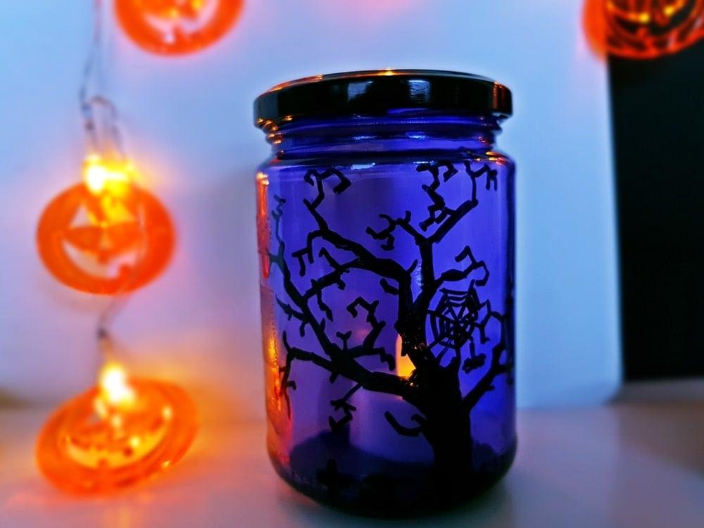 Hallowenn Windlichter basteln Einmachgläser