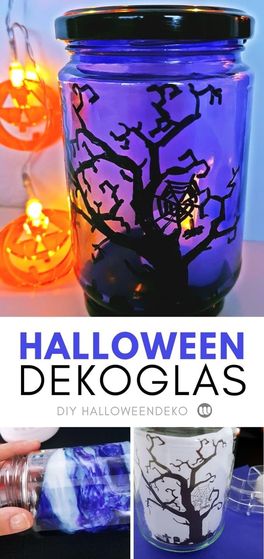 Halloween Windlichter basteln: Friedhofs-Windlicht selber machen zu Halloween