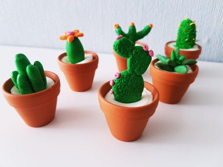 Kaktus Deko basteln Fimo