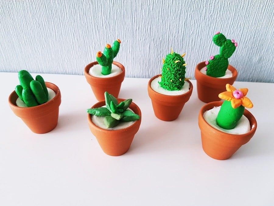 sommer basteltipp diy mini kaktus deko aus modelliermasse. Black Bedroom Furniture Sets. Home Design Ideas