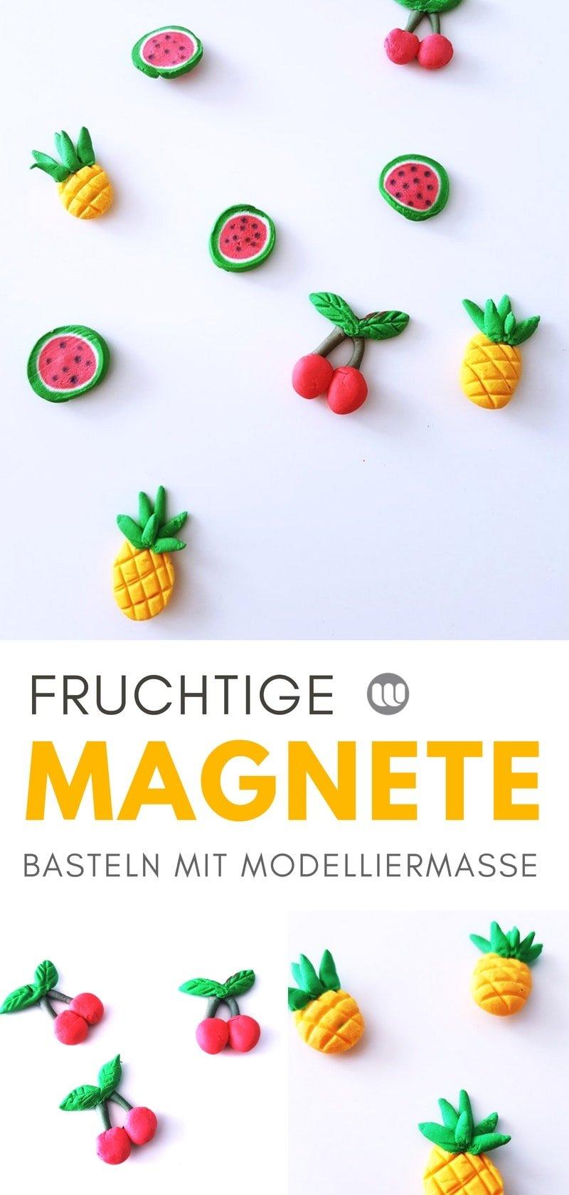 Magnete basteln mit Kindern #Magnete #früchte #kirschen #ananas #deko #diy #fimo