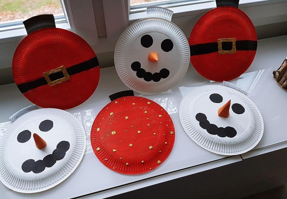 Pappteller basteln: Bastelidee für Weihnachten